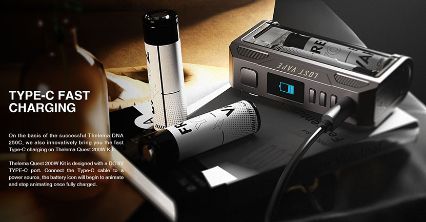Lostvape Thelema Quest 200W Mod charging
