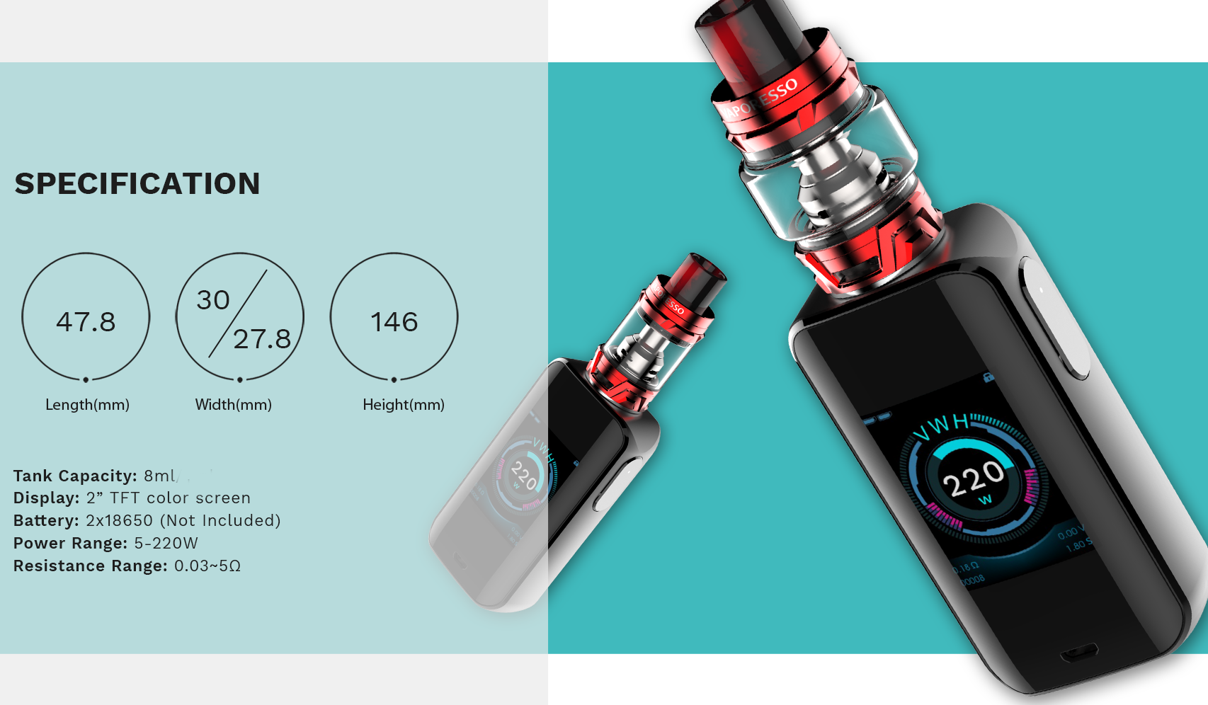 Vaporesso Luxe 200W TC Kit Features 12