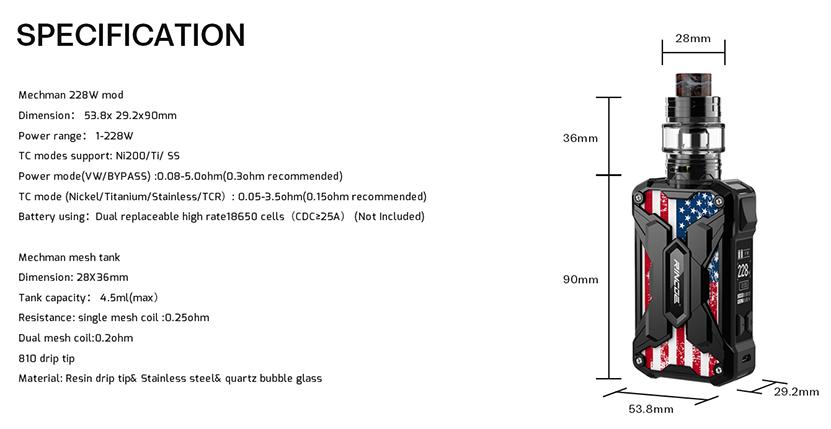 Mechman Vape Kit Specification