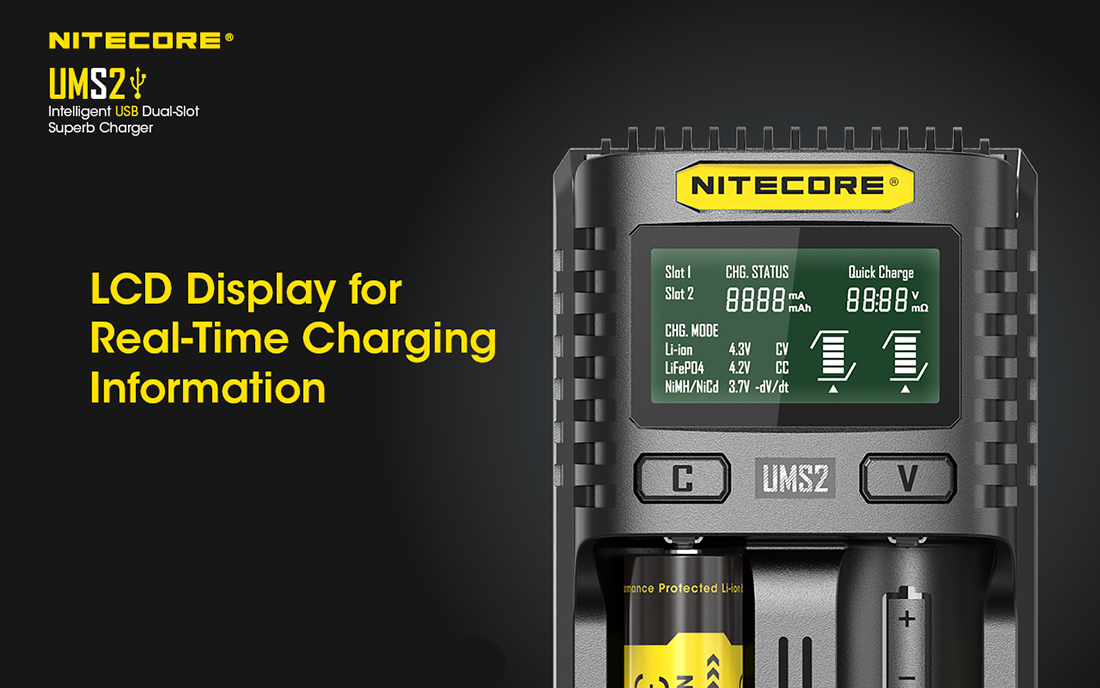 Nitecore UMS2 Battery Charger LCD1