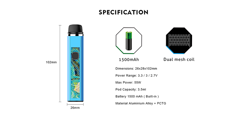 OneVape Mace55 Pod Kit Specification