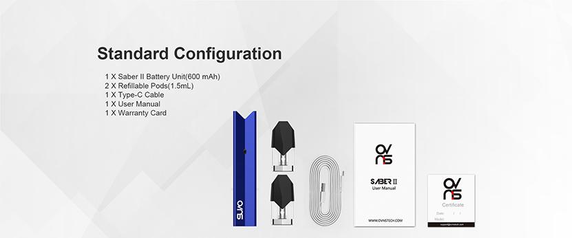 Ovns Saber 2 Pod System Kit package