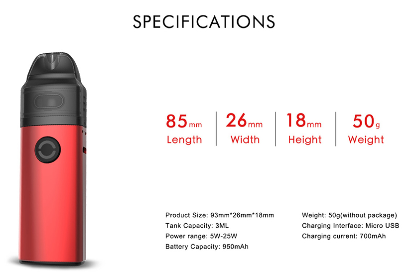 Phiness HUB Pod Vape Kit Specification