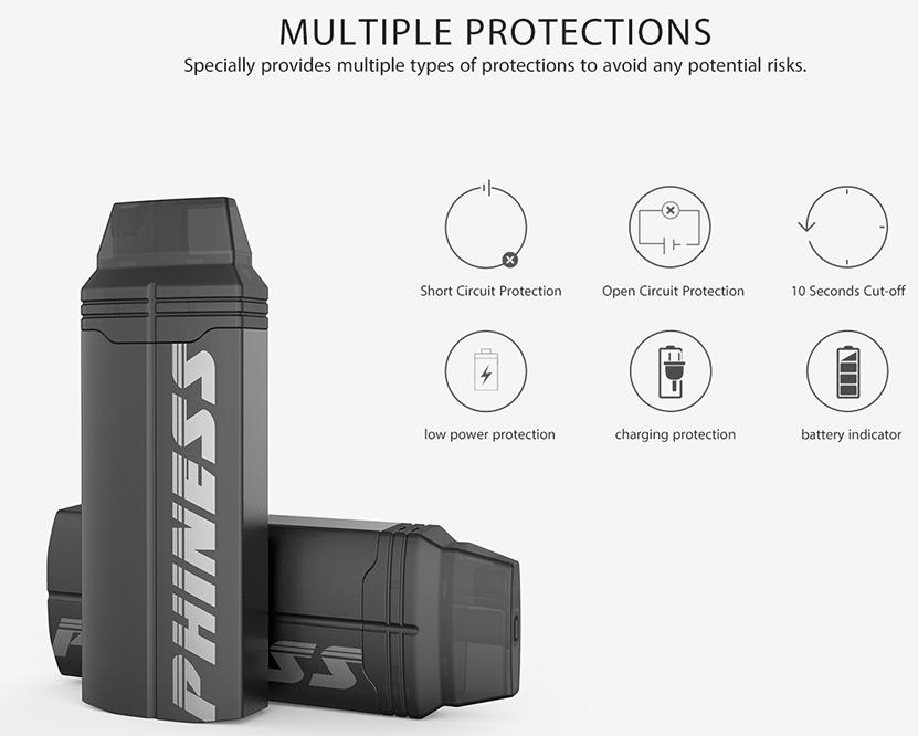 Phiness Shaka Pod Vape Kit Protections