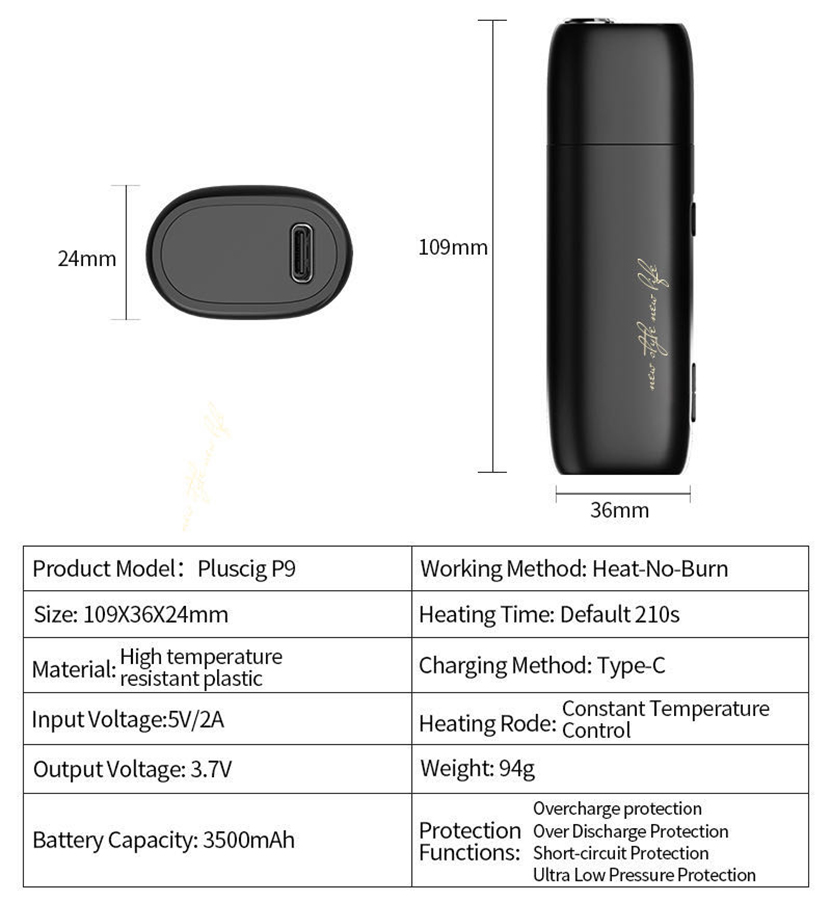 Pluscig P9 Vaporizer Specification