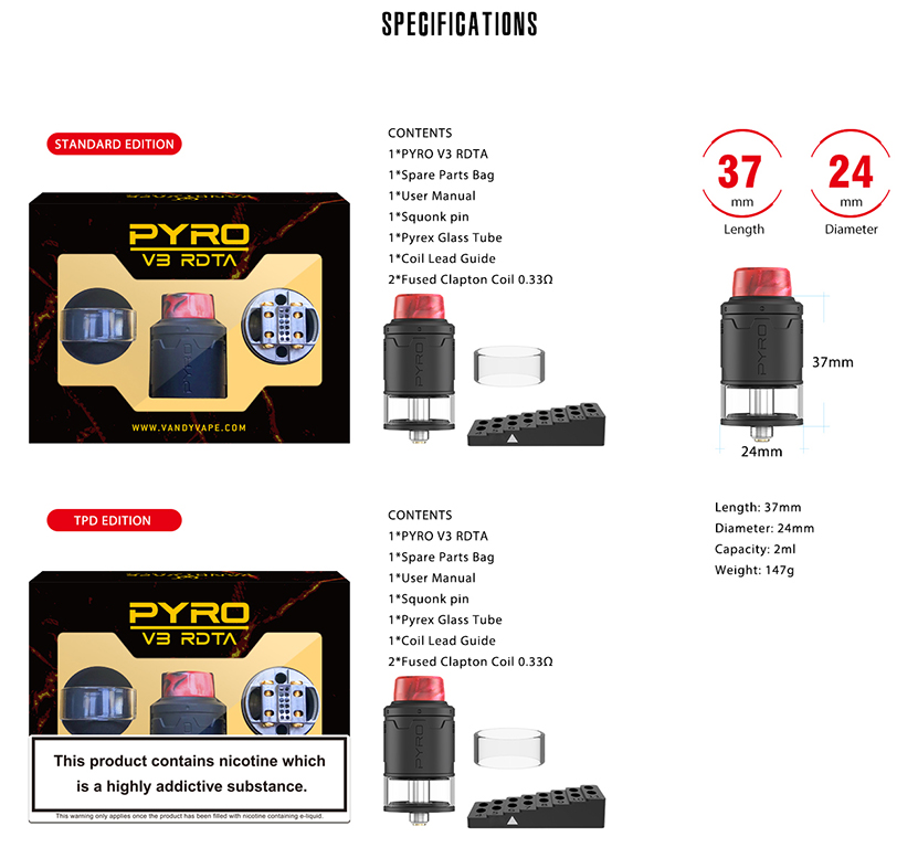 Pyro V3 RDTA Specification
