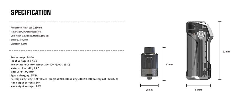 Jellybox Mini 80W Mod specification