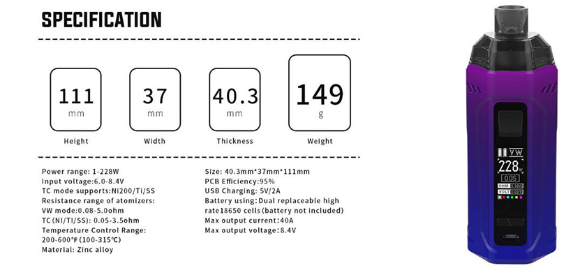 Rincoe Manto Max 228W Kit Feature 9
