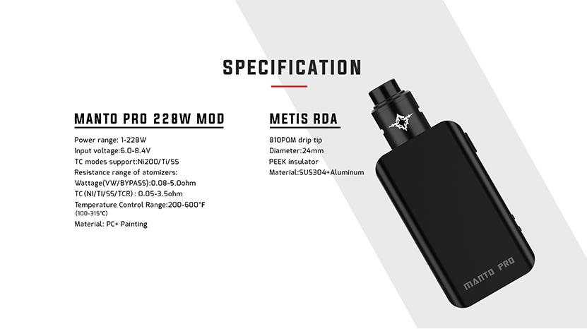 Manto Pro Mod Specification
