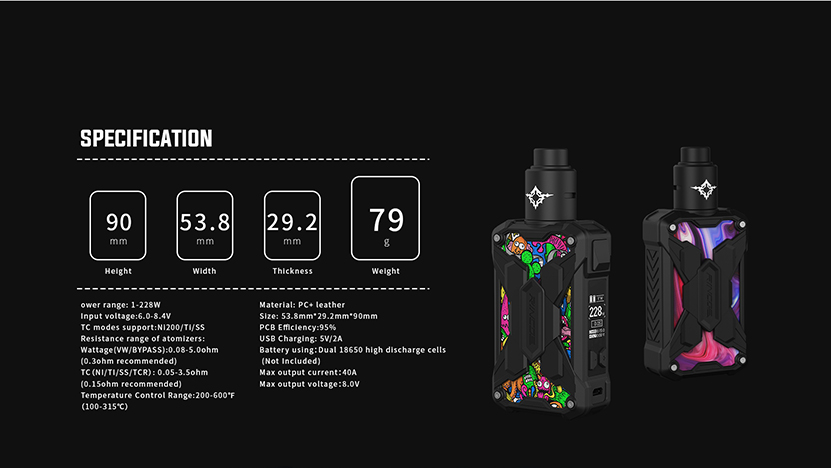 Rincoe Mechman Lite 228W Kit with Metis RDA Specification