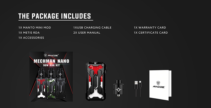 Rincoe Mechman Nano 90W RDA Kit Features 10