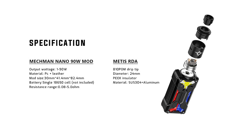 Rincoe Mechman Nano 90W RDA Kit Features 8