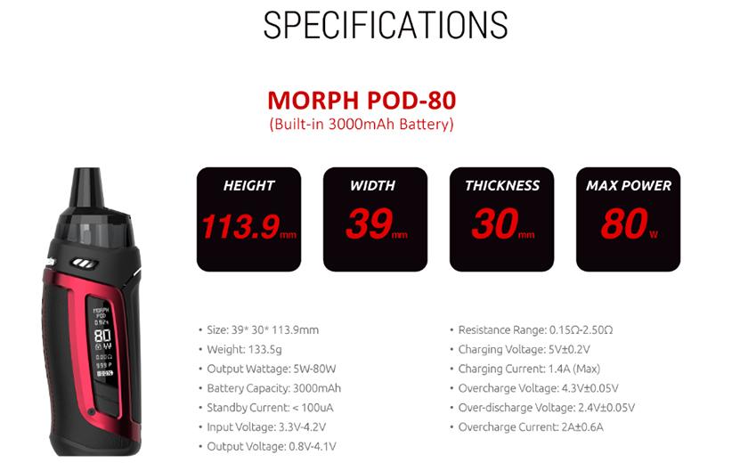 SMOK Morph Pod 80 Kit Specification