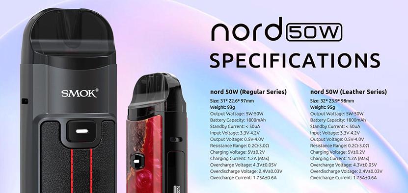 SMOK Nord 50W Kit specification