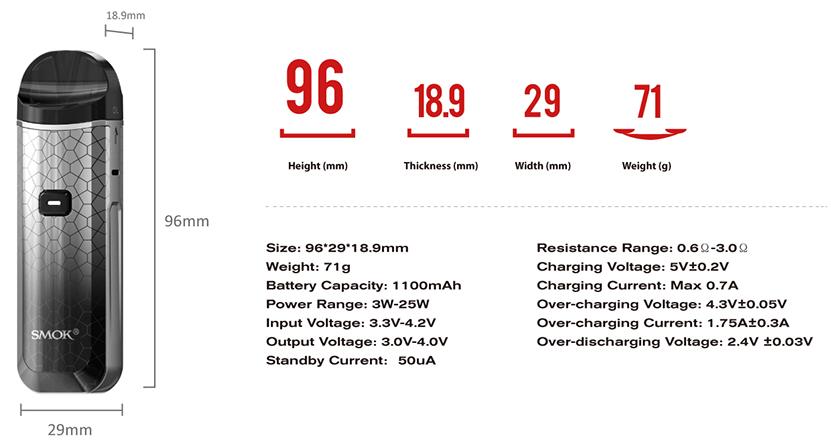 SMOK Nord  Pro Kit Specification
