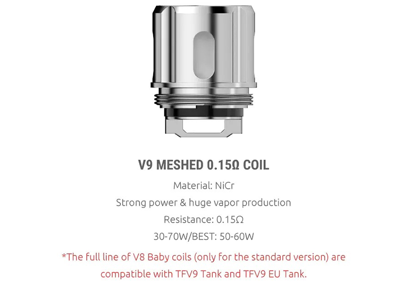 SMOK TFV9 Replacement Coil Features