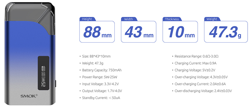 SMOK Thiner Pod System Kit Specifications