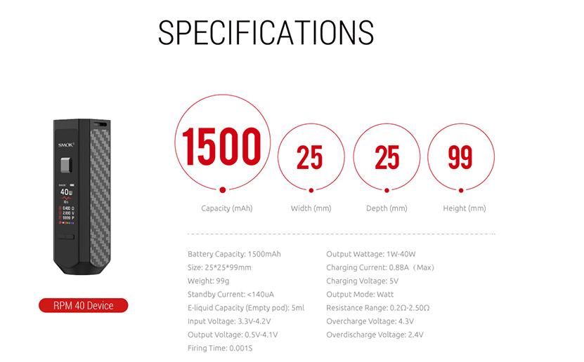SMOK RPM40 Pod System Kit Specification