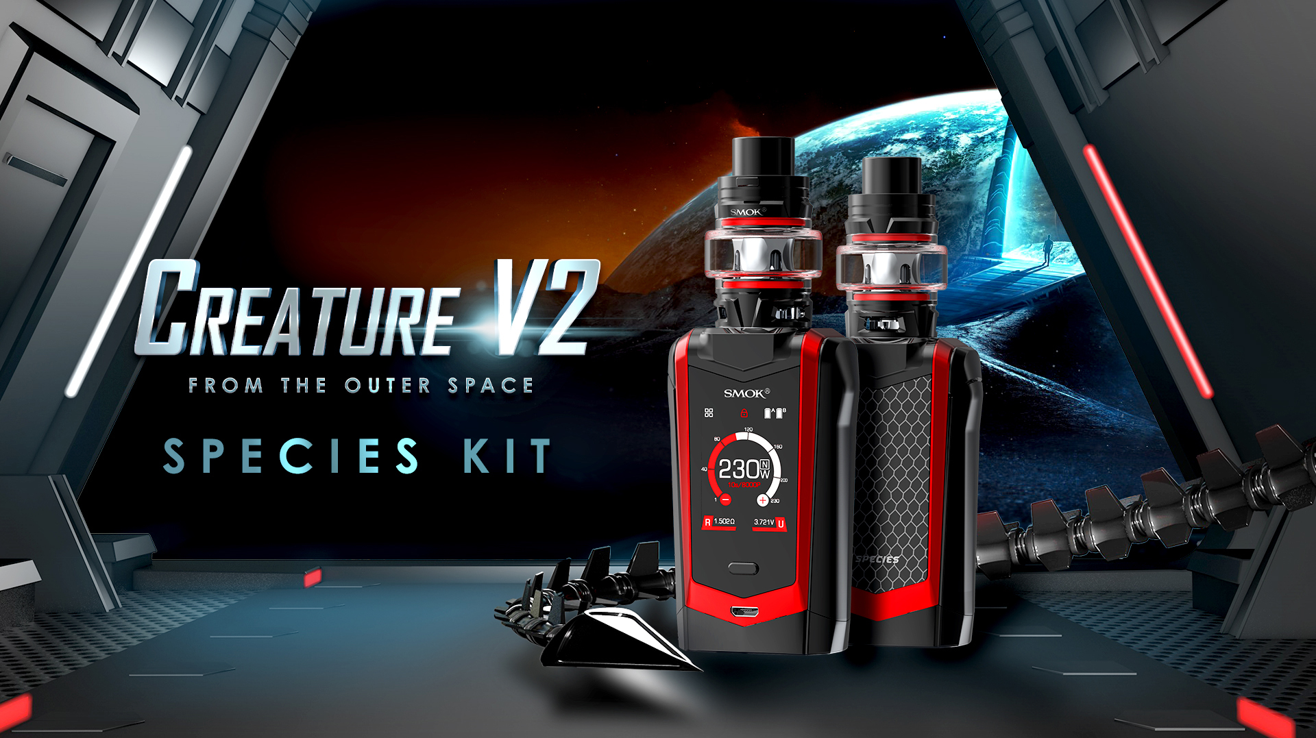 Smok Species 230w Kit With Tfv8 Baby V2 Tank 7 Color And