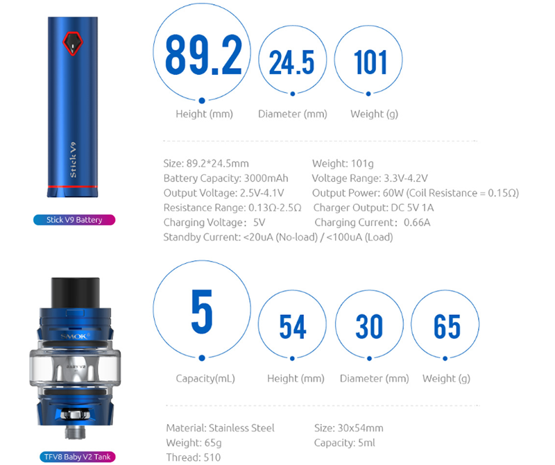 SMOK Stick V9 Kit Parameters