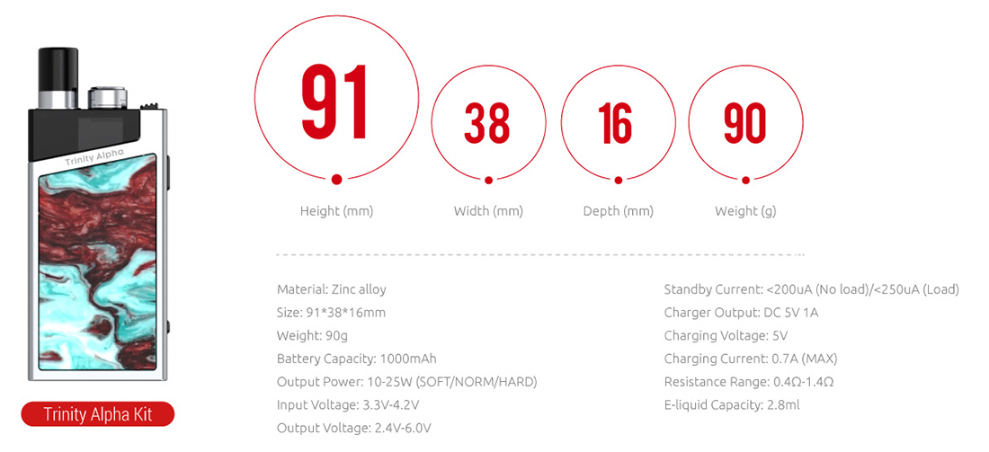 SMOK Trinity Alpha Kit Specification