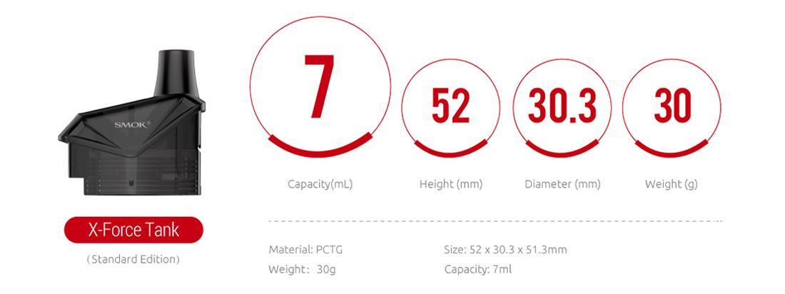SMOK X-Force Cartridge Parameters