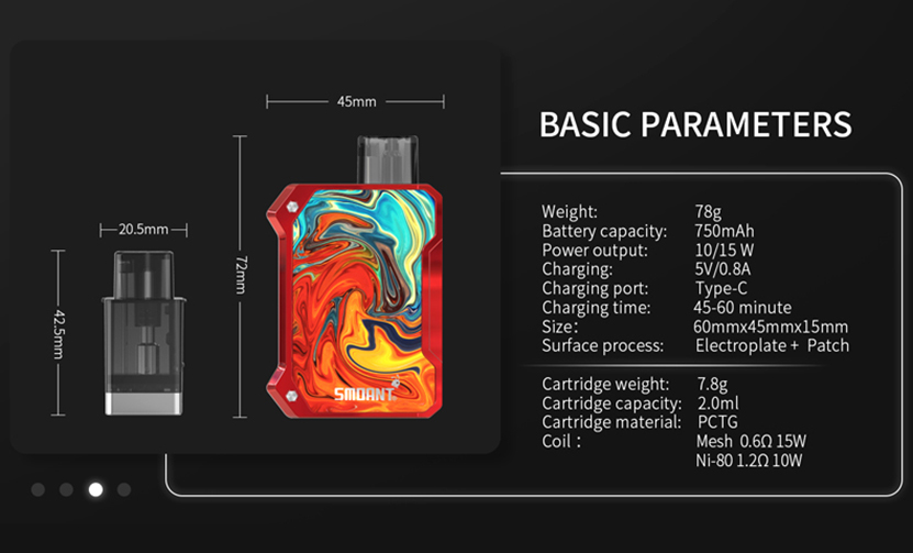 Smoant Battlestar Baby Pod Kit Parameter