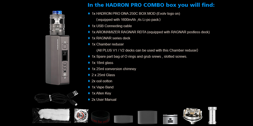 SteamCrave Hadron Pro DNA250C Combo Kit package