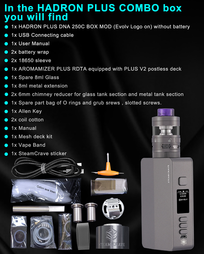 Steam Crave Hadron Plus DNA250C Combo Kit Package