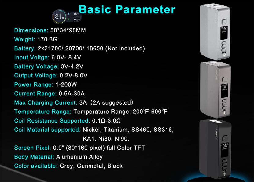 Steam Crave Hadron Plus DNA250C Mod Parameters