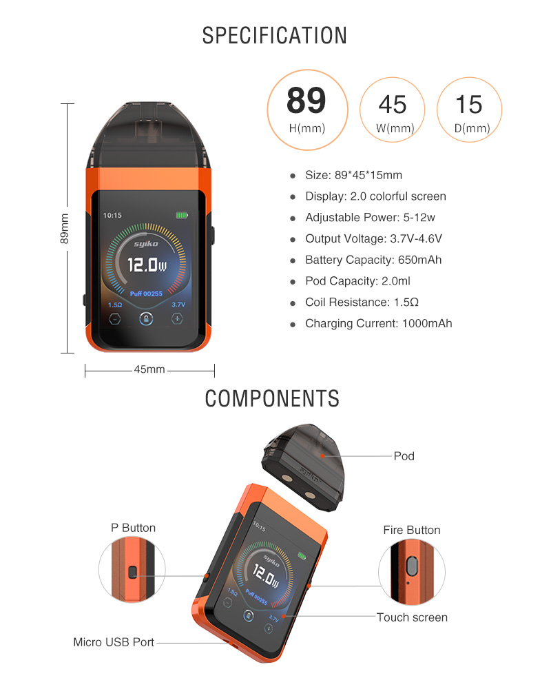 Syiko SE Pod Kit Specification