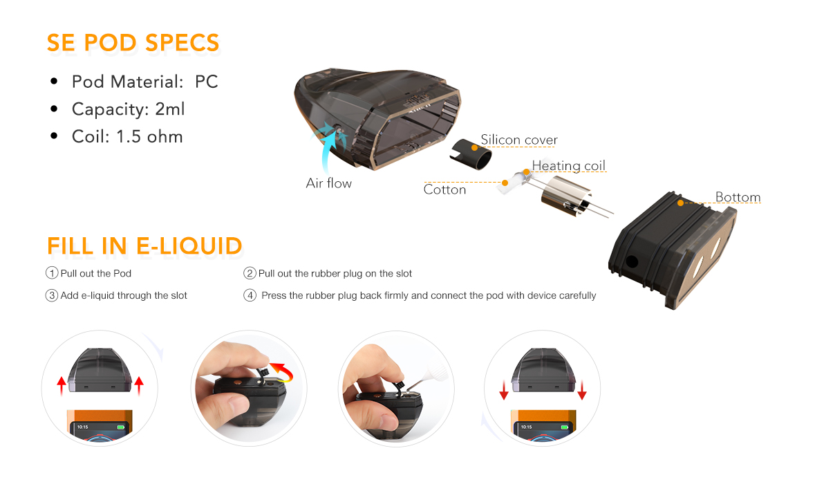 A Pod Cartridge is Designed for the Syiko SE Pod Vape Kit