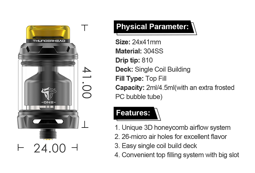 THC Tauren One RTA Tank Specification