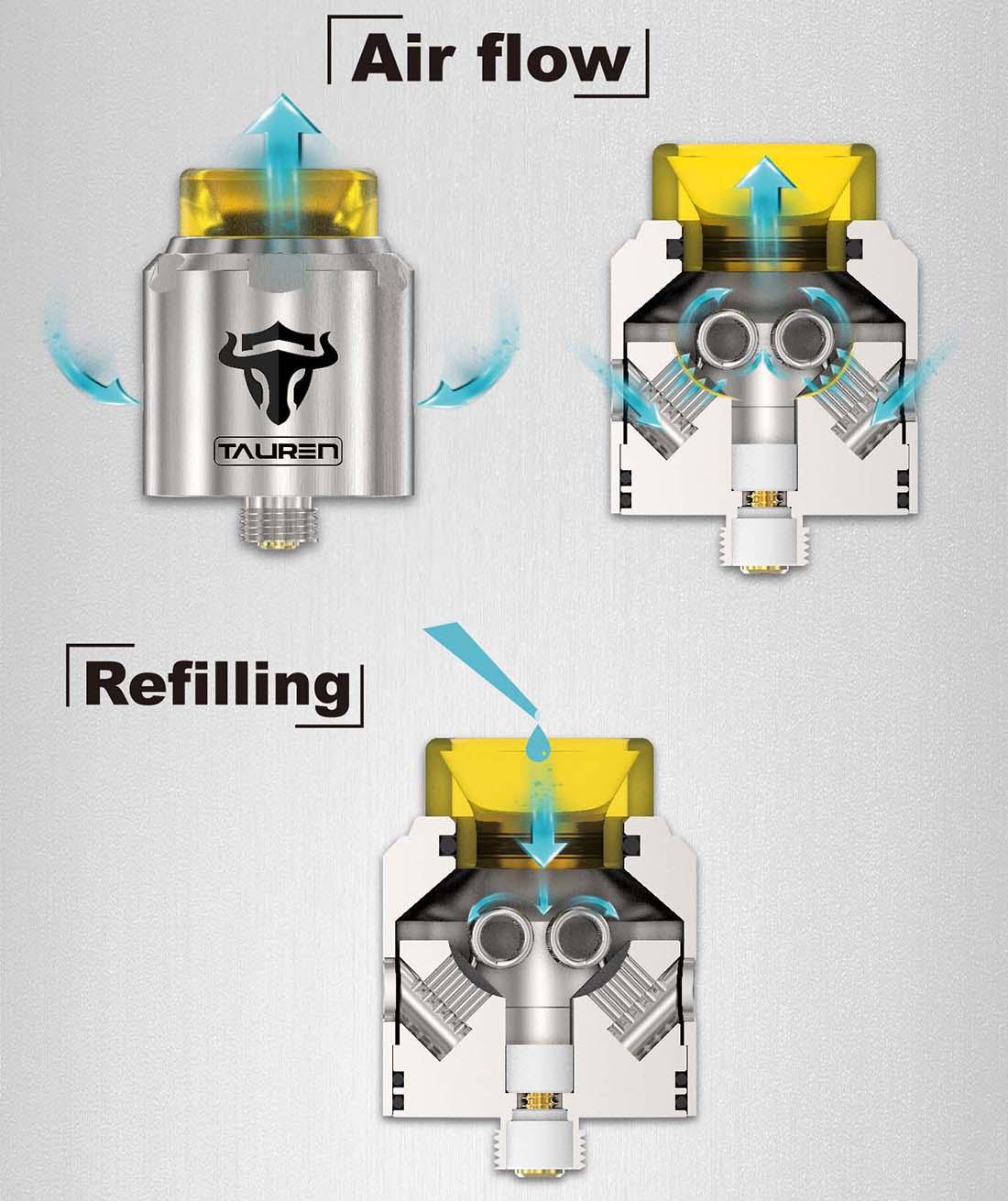 THC Tauren RDA Airflow Filling