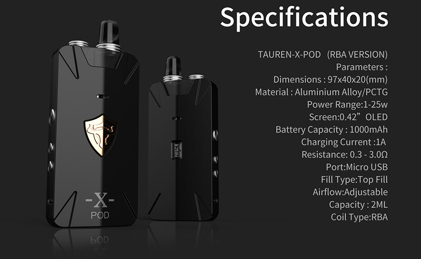 THC Tauren X RBA Pod Kit Specification