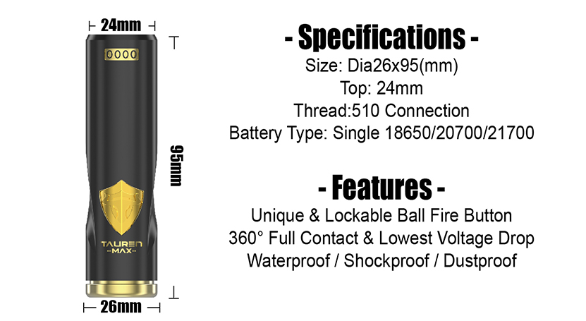 Tauren Max Mech Vape MOD Specification