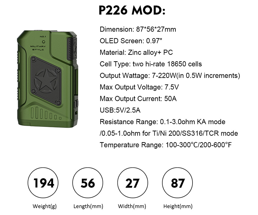 Tesla P226 220W Box Mod Features 04