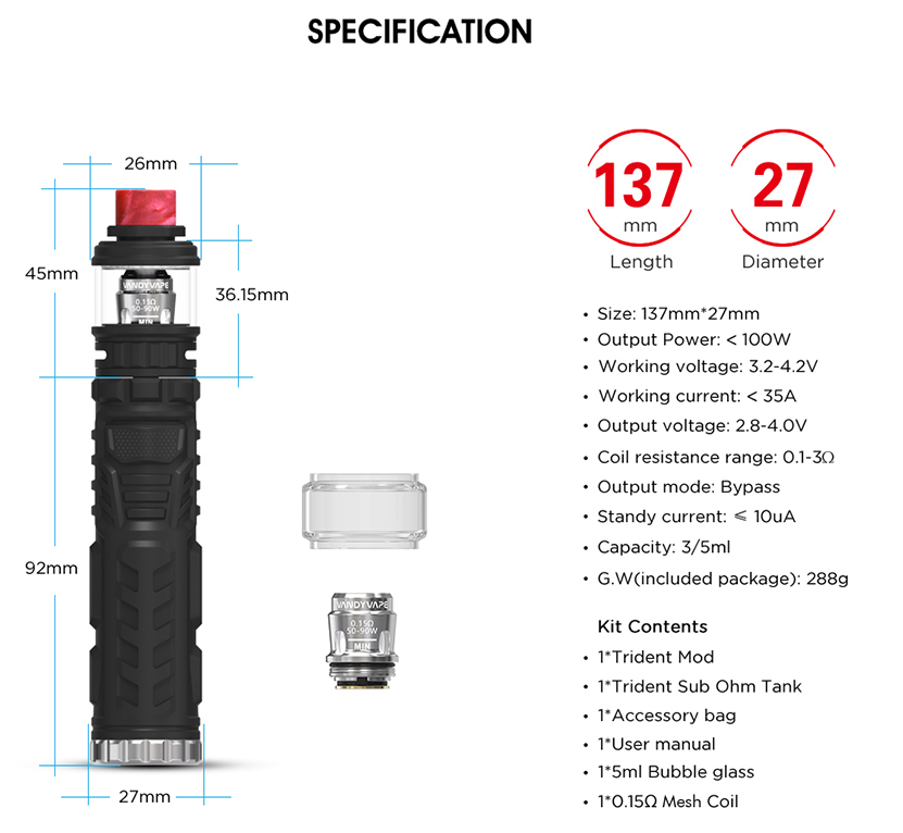 Trident Vape Kit Parameters