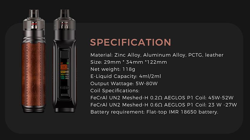 Uwell Aeglos P1 Kit Specification