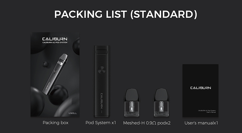 Uwell Caliburn A2 Kit package