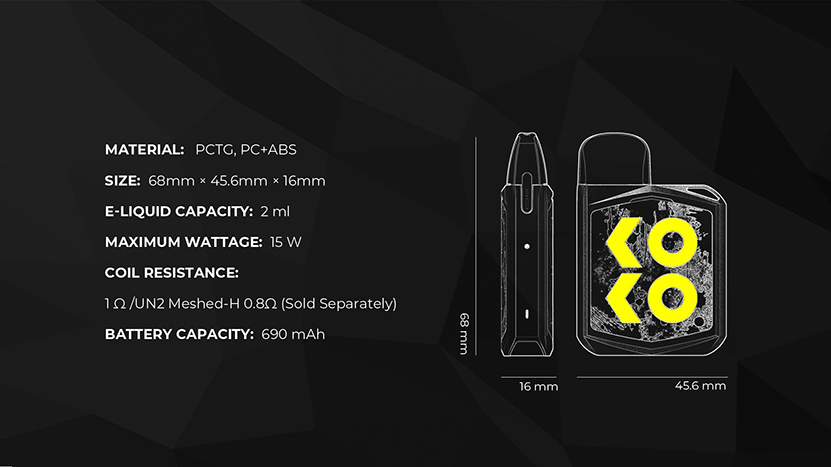 Caliburn KOKO Prime Pod Kit Specification