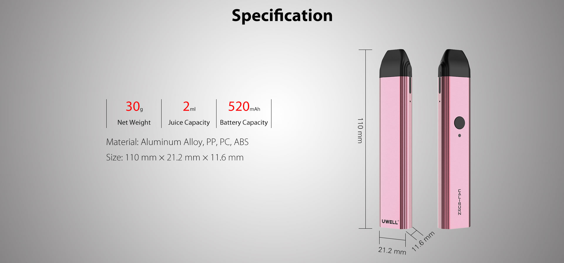 Uwell Caliburn Kit Specifications