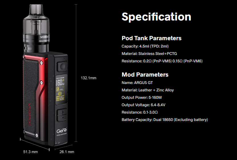 VOOPOO Argus GT TC Box Mod Kit Parameter