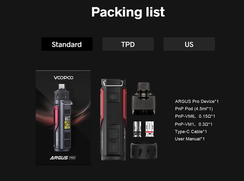 VOOPOO Argus Pro Kit Package