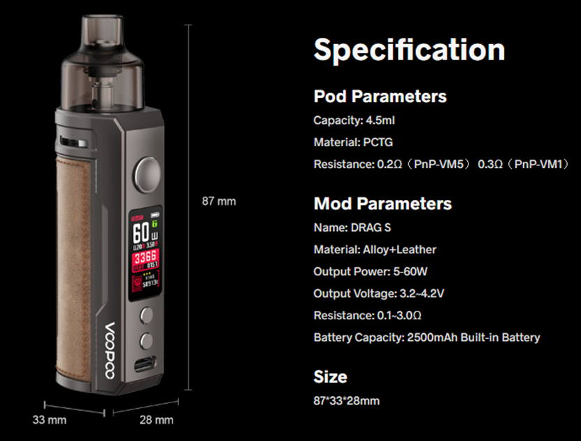 VOOPOO DRAG S Pod Kit Specification