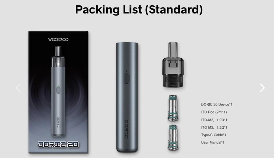 VOOPOO Doric 20 Kit Package List