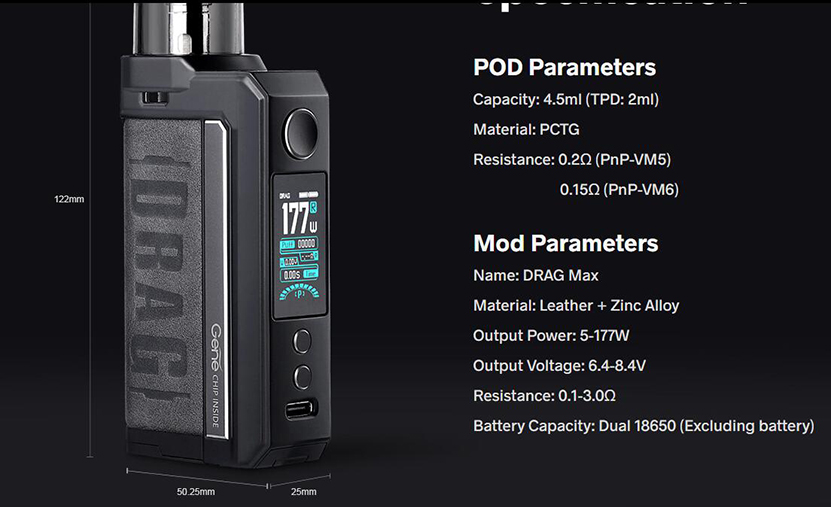 VOOPOO Drag Max Kit Feature 12