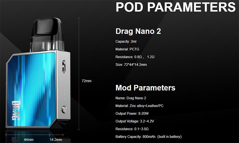 VOOPOO Drag Nano 2 Kit Specification