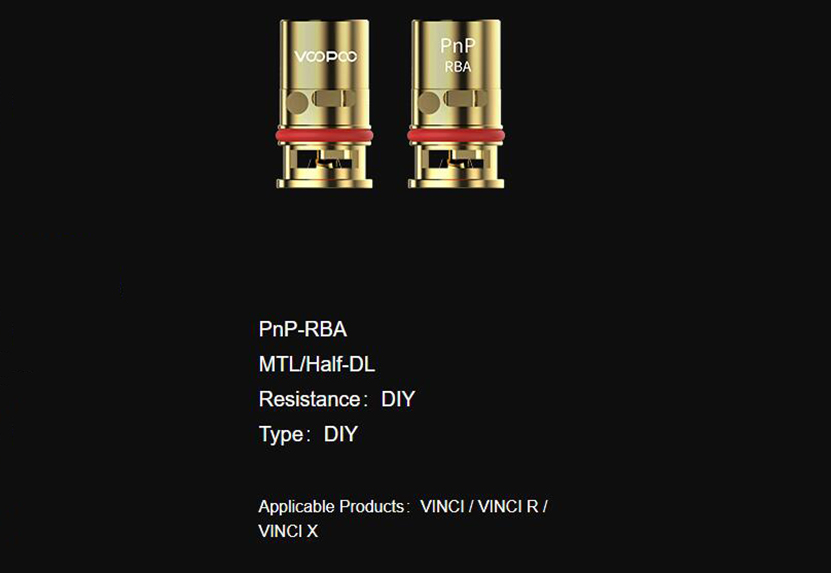 VOOPOO PnP-RBA Coil Features