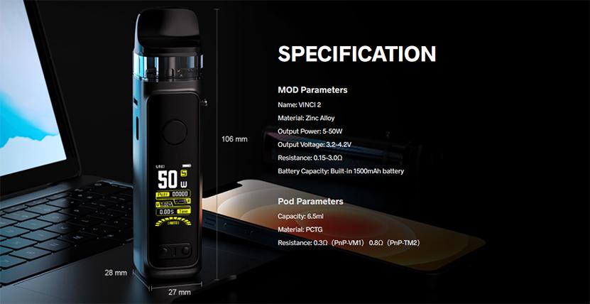 VOOPOO VINCI 2 Kit specification